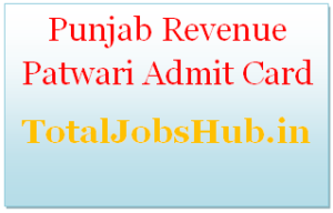 punjab revenue patwari admit card