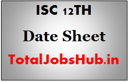 isc 12th date sheet