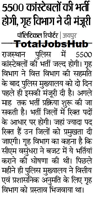 rajasthan police constable notification