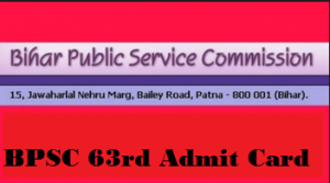 bpsc 63 admit card