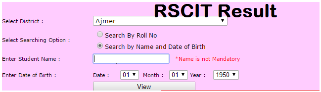 RSCIT Result name wise