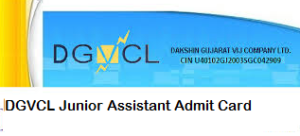 DGVCL Junior Assistant Admit Card 2018 Vidyut Sahayak JA Call Letter